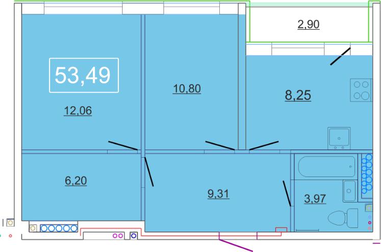 Планировка Двухкомнатная квартира площадью 53.49 кв.м в ЖК «Солнце»