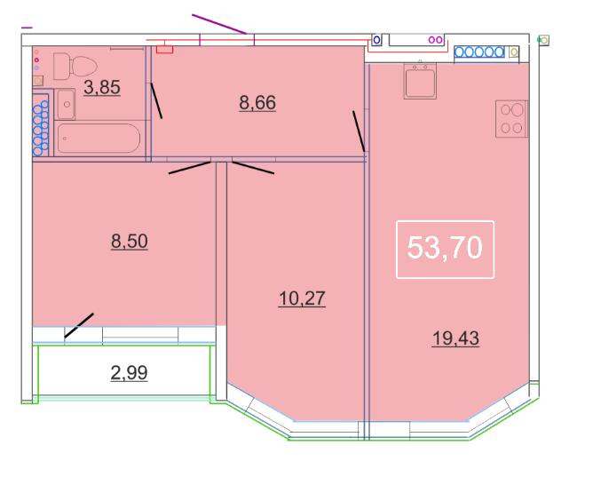 Планировка Двухкомнатная квартира площадью 53.7 кв.м в ЖК «Солнце»